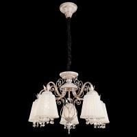 10007/5 / подвесной светильник белый с золотом/прозрачный хрусталь Strotskis