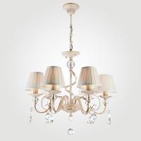 10074/6 / подвесной светильник белый с золотом/прозрачный хрусталь